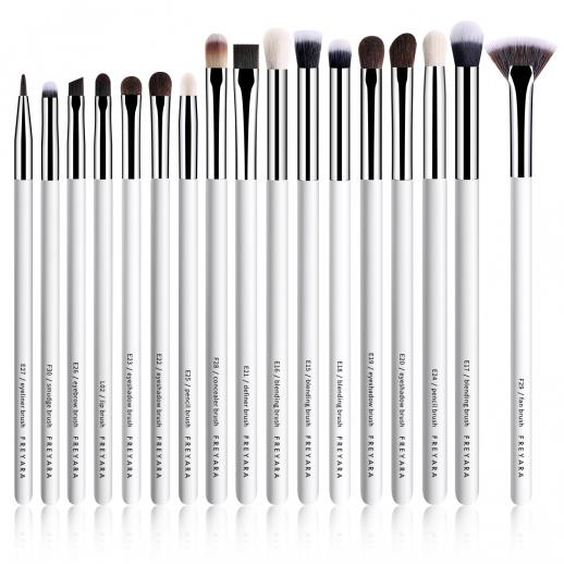 Professional Eye Brushes Set Classic White 17 Pieces Collection