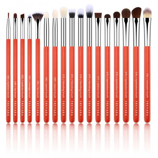 Professional Eye Brushes Set Glitter Red 17 Pieces Collection