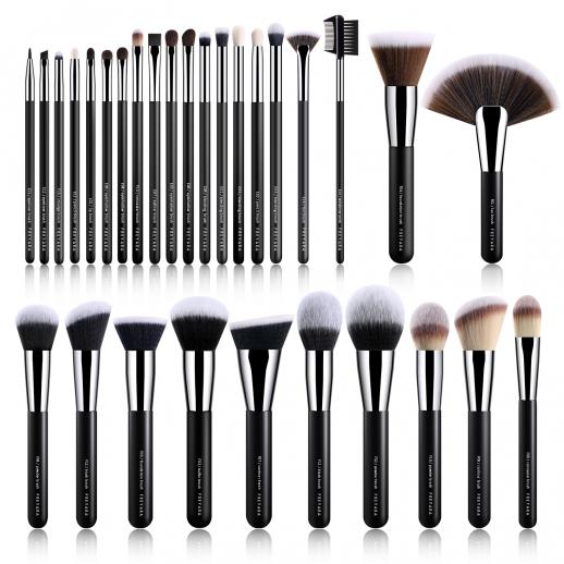 Professional Makeup Brushes Set Classic Black 30 Pieces Complete Collection
